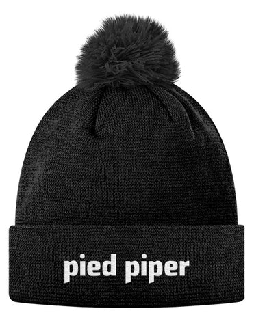 Pom Pom Knit Cap - Pied Piper Logo Pom Pom Hat from the TV Series Silicon Valley on HBO Black