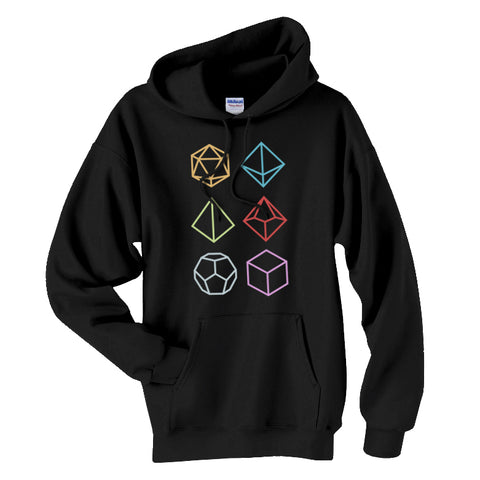 Multi-Sided RPG Gamer Dice Icons Unisex Hoodie