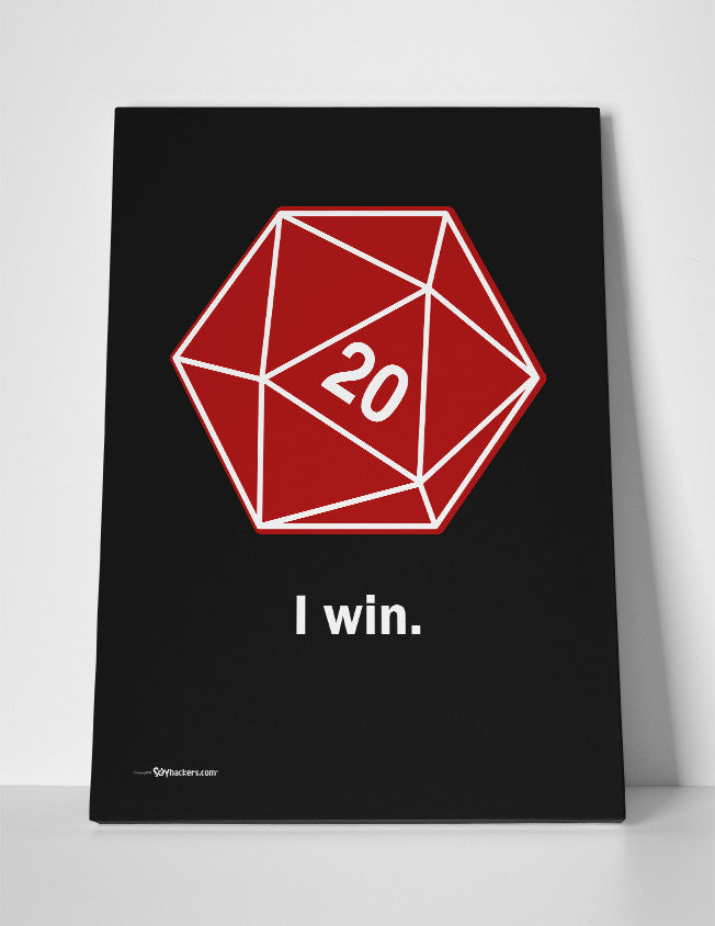 I Win D20 Dice Canvas