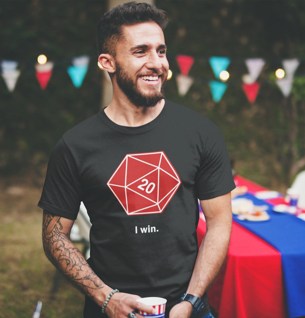 I Win D20 Dice Men's Unisex T-Shirt by Sexy Hackers