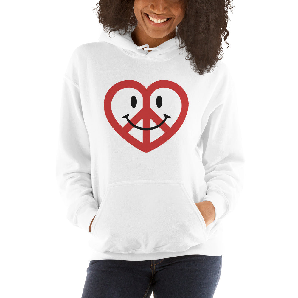 White Love Peace and Happiness Unisex Hoodies