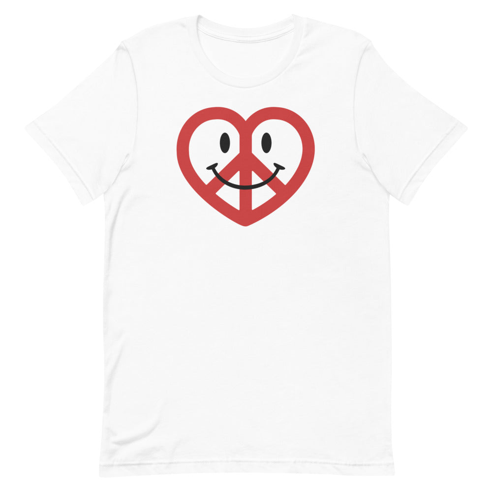 White Love Peace and Happiness Unisex T-shirt