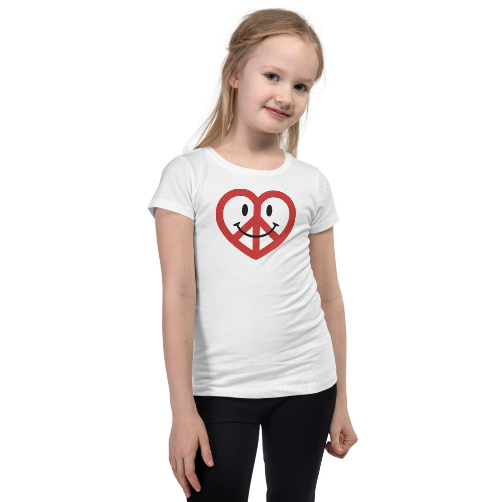 White Love Peace and Happiness Princess T-shirt