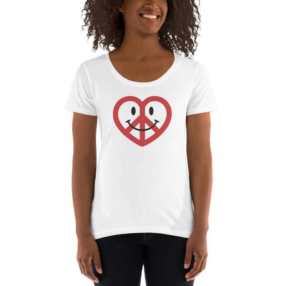 White Love Peace and Happiness Women's Scoopneck T-shirt