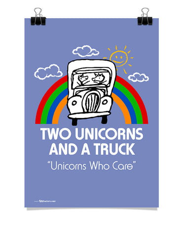 Poster - Two Unicorns and A Truck 24x36 / Poster - 1