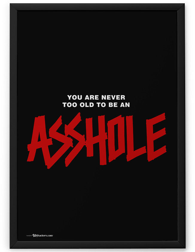 Poster - You Are Never Too Old To Be An Asshole  - 2