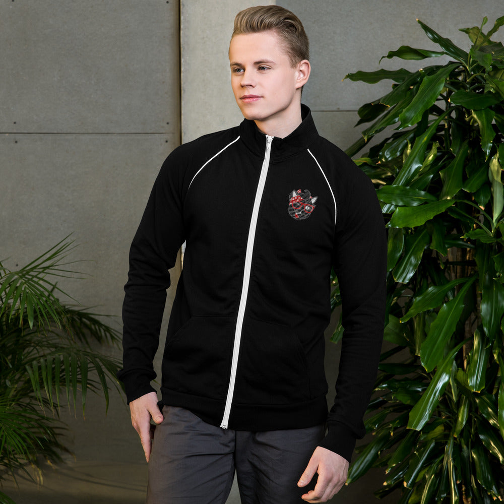Sexy Hackers Embroidered Cat Logo Piped Fleece Jacket