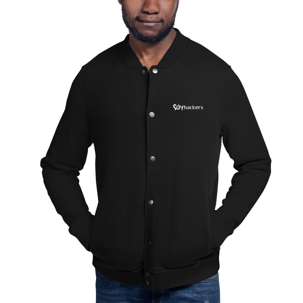 Sexy Hackers Text Logo Champion Bomber Jacket