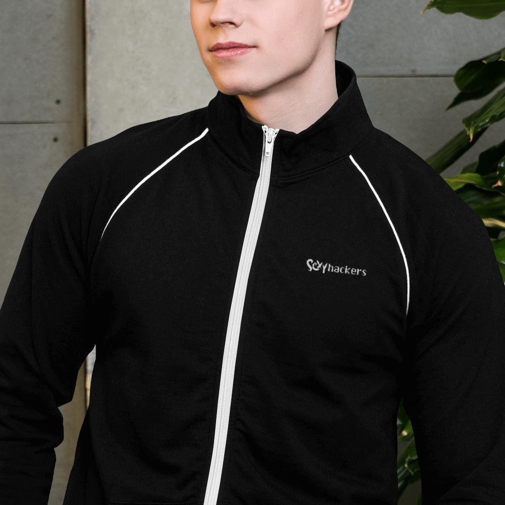 Sexy Hackers Embroidered Text Logo Piped Fleece Jacket