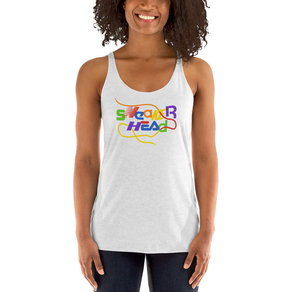 SneakerHead - Rainbow on White Women's Racer-back Tank-top