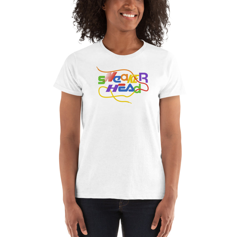 SneakerHead - Rainbow on White Ladies Ultra Cotton T-shirt