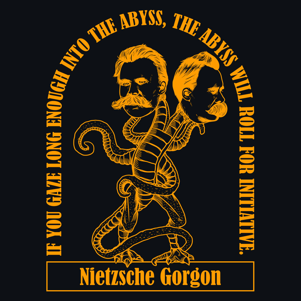Nietzsche Gorgon Abyss Quote Unisex T-Shirt by Sexy Hackers