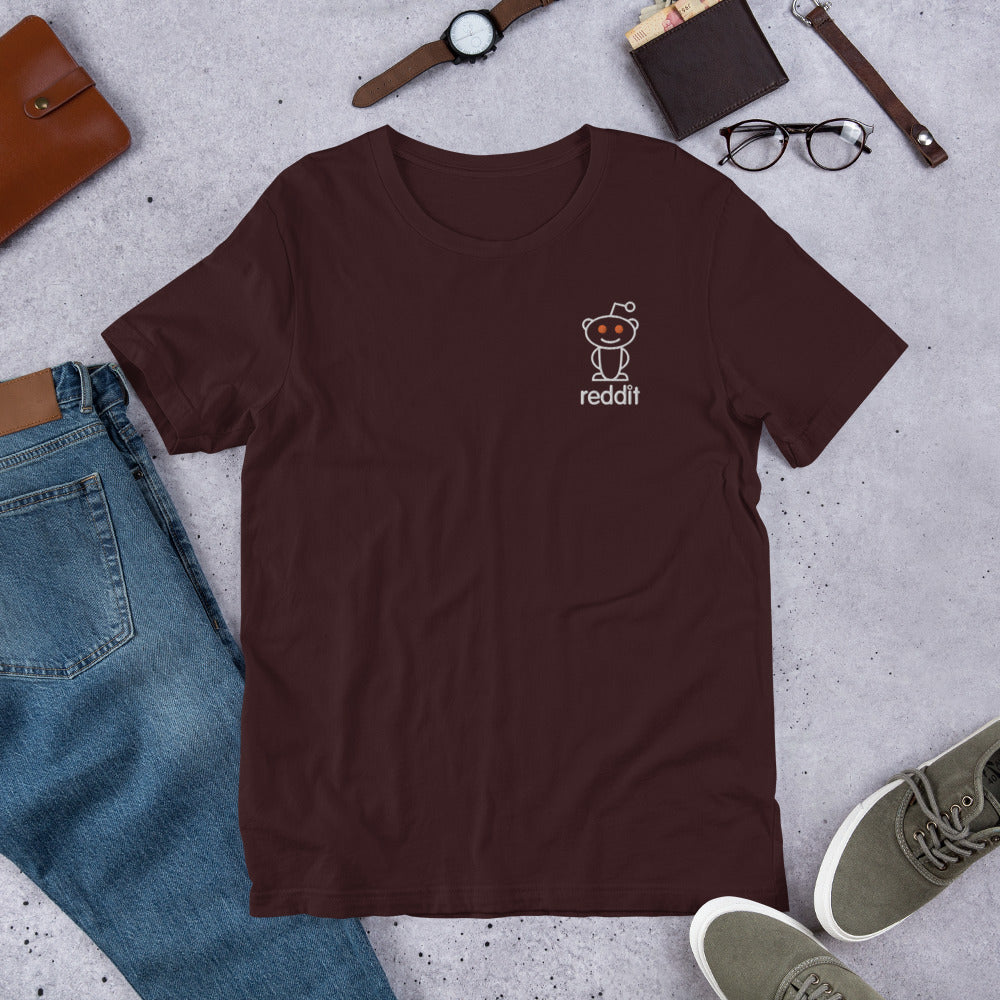 Embroidery Reading Robot Robot Logo T-Shirt