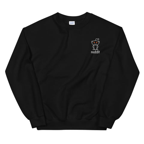 Embroidery Reading Robot Robot Logo Black Sweatshirt
