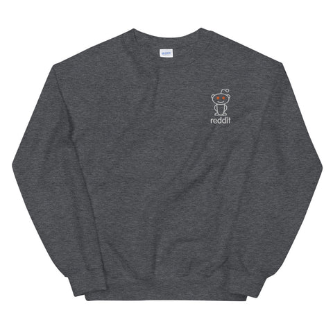 Embroidery Reading Robot Robot Logo Gray Sweatshirt