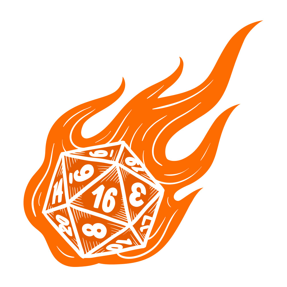 Flaming Role-Playing Polyhedral Dice Shirt by Sexy Hackers