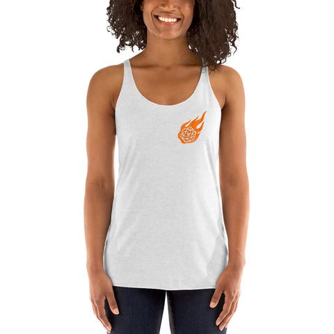 Flaming Role-Playing Polyhedral Dice Women's Racerback Tank