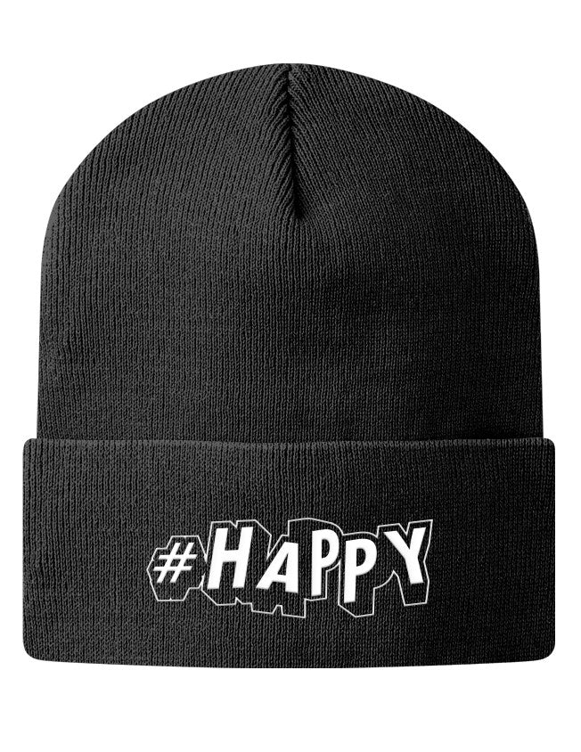 Knit Beanie - #Happy  - 1