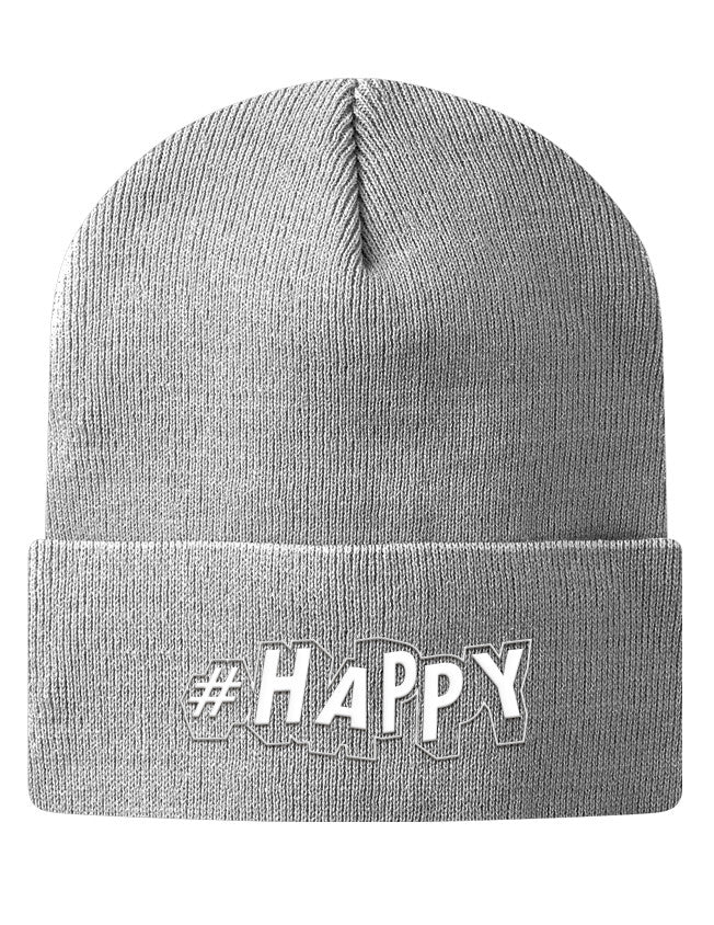 Knit Beanie - #Happy  - 2
