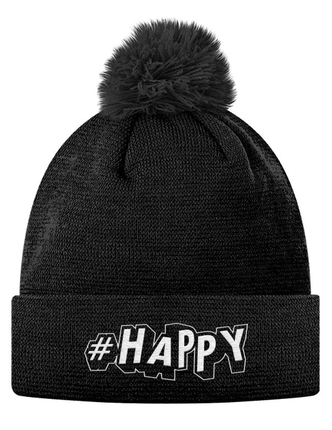 Pom Pom Knit Cap - #Happy  - 1