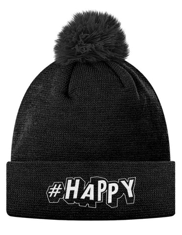 #Happy Pom Pom Knit Cap