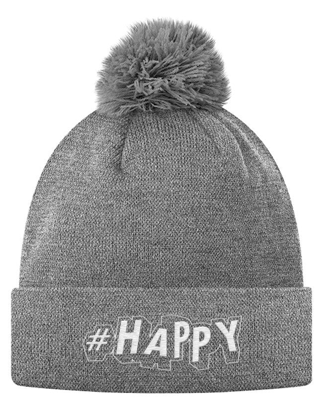 Pom Pom Knit Cap - #Happy  - 2