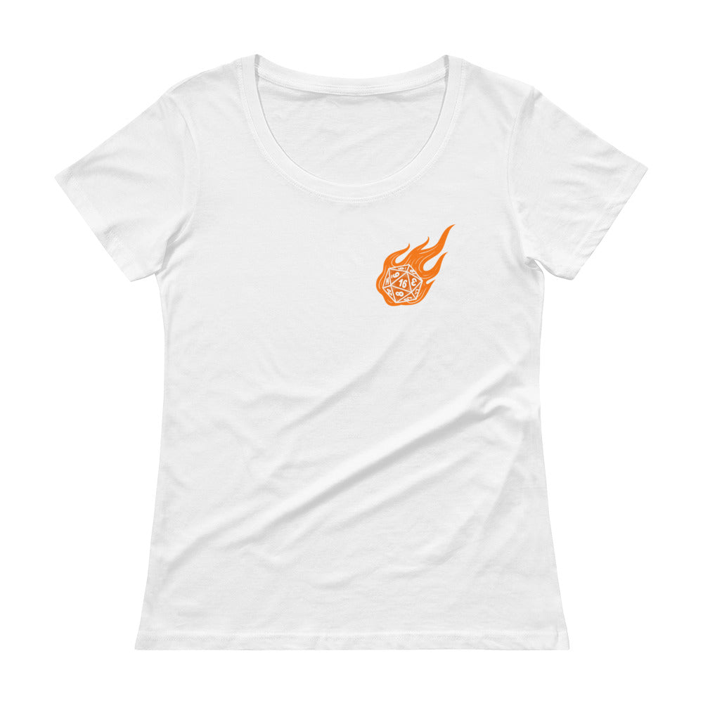 Flaming Role-Playing Polyhedral Dice Women's Sheer Scoopneck Tee