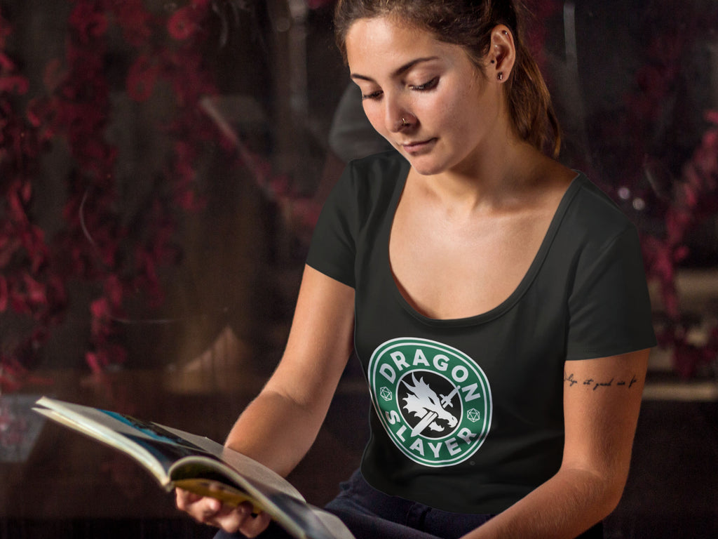 RPG Dragons Starbucks Logo Women's Scoopneck T-shirt