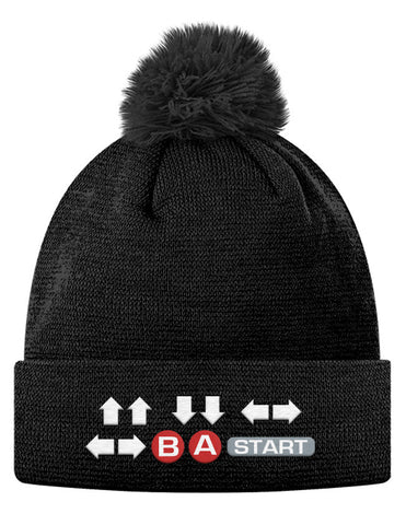 Pom Pom Knit Cap - Contra Cheat Code Hat - ⇧⇧⇩⇩⇦⇨⇦⇨ Ⓑ Ⓐ  START