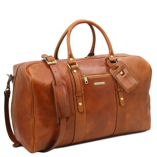 Leather travel bag with front pocket