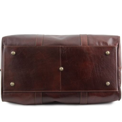 Travel Leather Duffle Bag with pocket on the backside - Large size