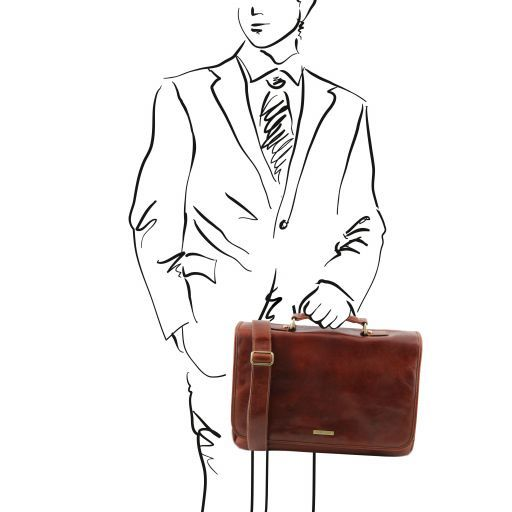 Leather briefcase with flap MANTOVA