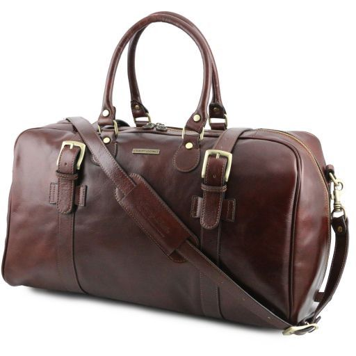Leather travel bag with front straps - Large size
