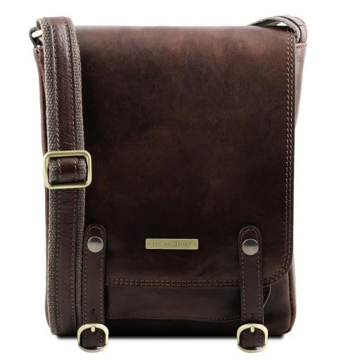 Leather crossbody bag with front straps ROBY