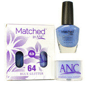 #64 Blue Glitter Polish and Powder Combo