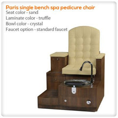 Bench Spa Chairs - Gulfstream - Paris Single Bench- Pedicure Spa Chair