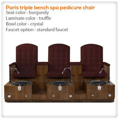 Bench Spa Chairs - Gulfstream - Paris Triple Bench- Pedicure Spa Chair