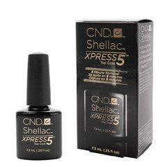 Gel Nails - CND Shellac Xpress 5 Top Coat .25oz Bottle Clear Gel Soak Off LED Long