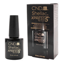 Gel Nails - CND Shellac Xpress 5 Top Coat .5oz Bottle Clear Gel Soak Off LED Long