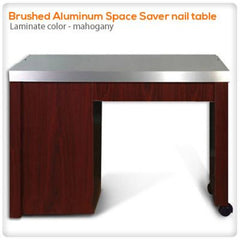 Manicure Nail Tables - Brushed Aluminum Space Saver Nail Table