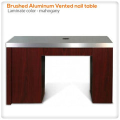 Manicure Nail Tables - Brushed Aluminum Vented Nail Table