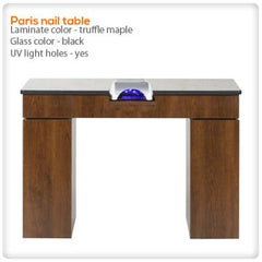 Manicure Nail Tables - Paris Nail Table With UV Light Holes