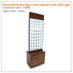 Polish Displays - Paris Nail Polish Rack With Cabinet With LED Light