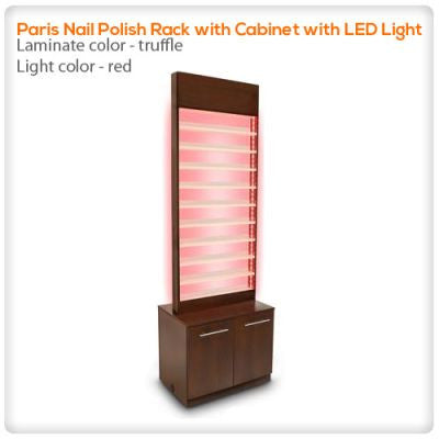 Paris Nail Polish Rack with Cabinet with LED Light