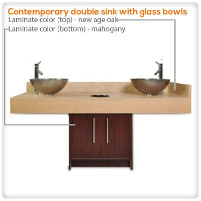 Contemporary double sink with glass bowls