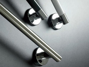 Stylish Colored Grab Bars with Stainless Steel Accents