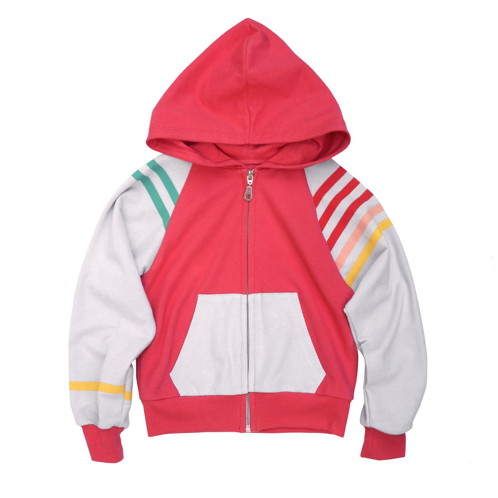 1984 COLOR-BLOCKED MULTI-STRIPE BEACH HOODIE