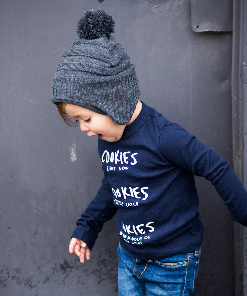 'COOKIES' LONG SLEEVE BABY-RIB T-SHIRT