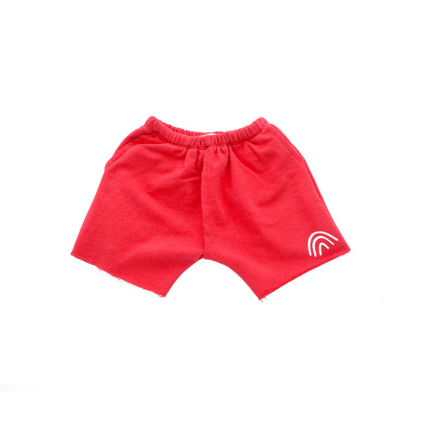 'RAINBOW' FRENCH TERRY SHORT (RED)