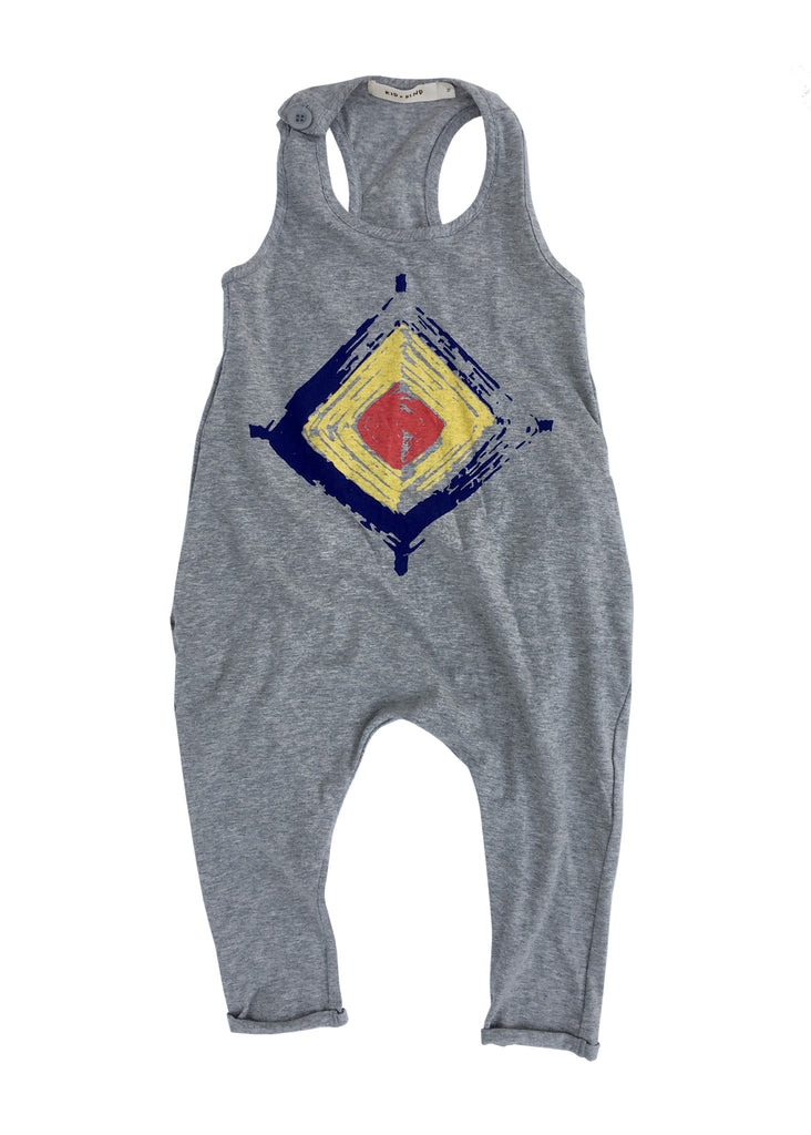 'DIAMOND EYE' TANK ROMPER (HEATHER GREY)